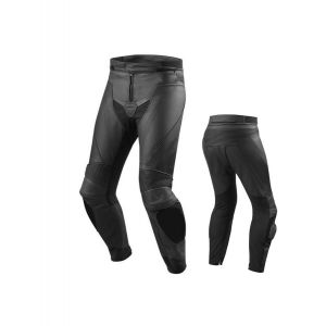 Mens Motorcycle Race Leather Pants Black with CE Rated Armor